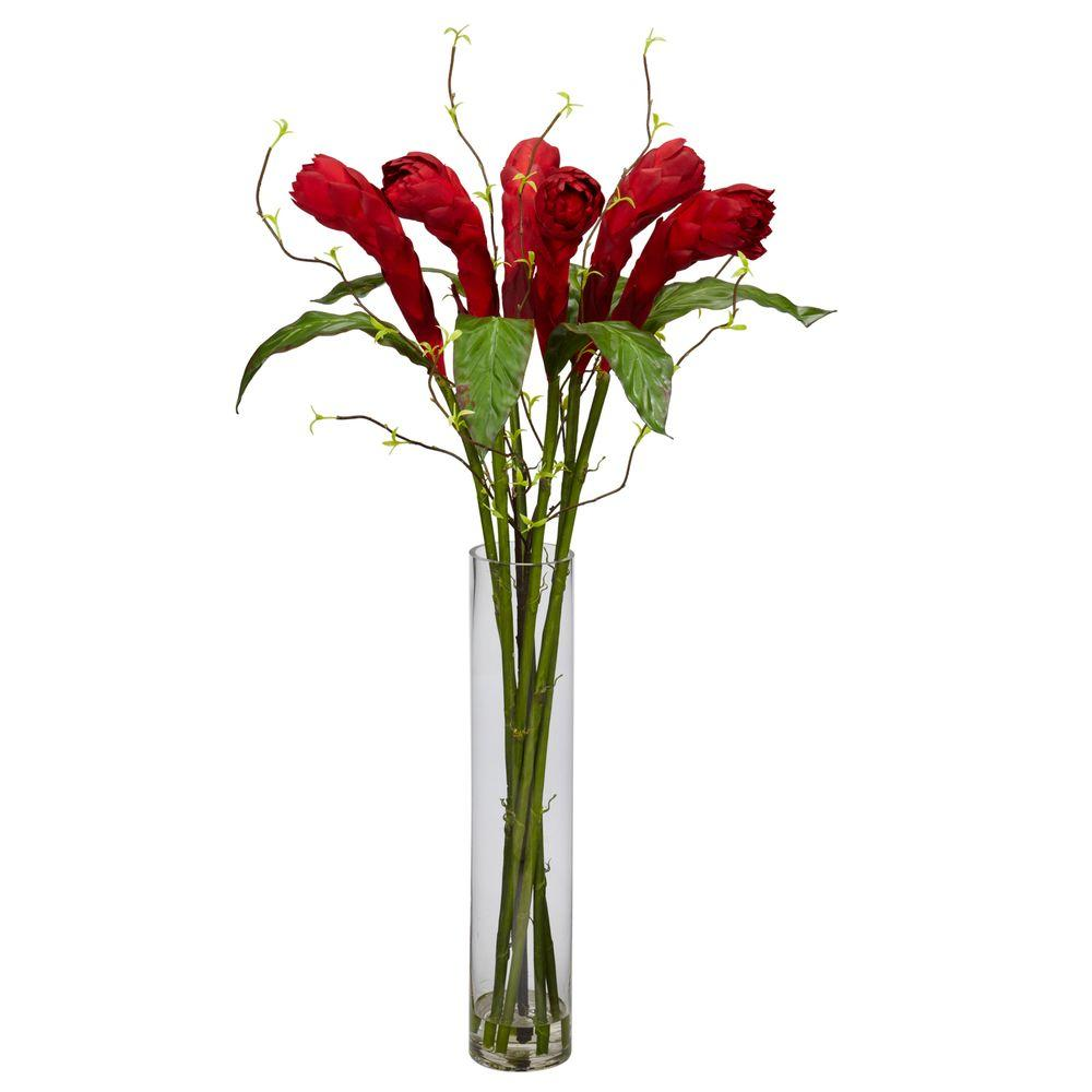 Nearly Natural 36 in. H Red Ginger with Cylinder Vase Silk Flower Arrangement 1242 - The Home Depot