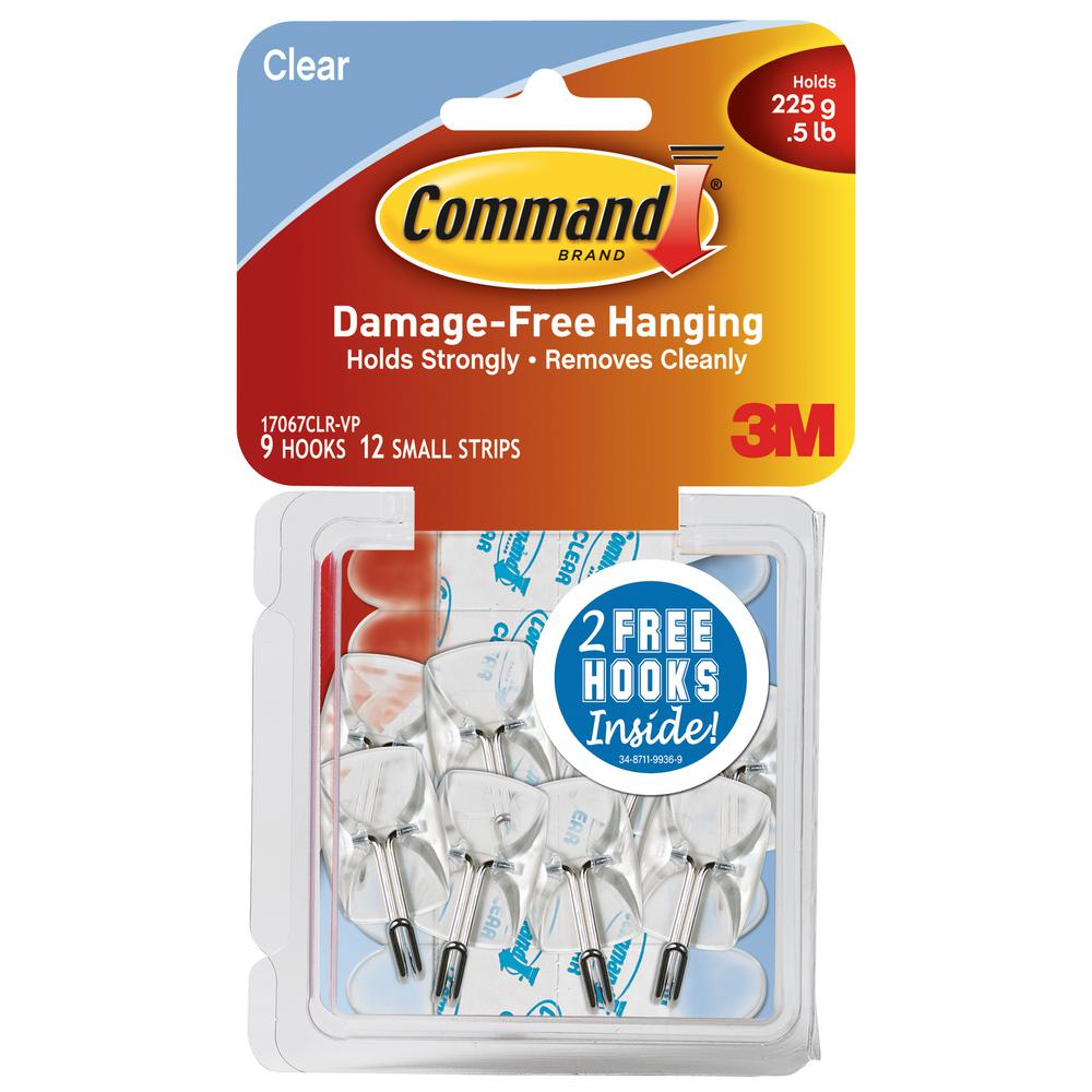 Command Small Clear Wire Hooks With Strips 9 Pack