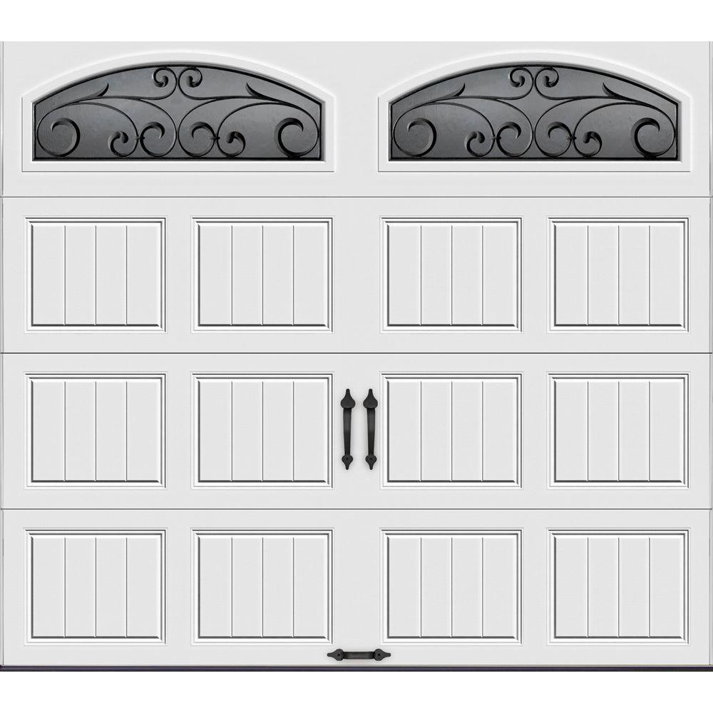 Clopay Gallery Collection 8 ft. x 7 ft. 18.4 R-Value Intellicore Insulated White Garage Door with Wrought iron Window