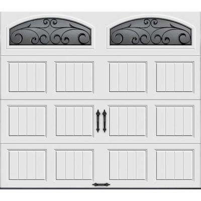 Gallery Collection 8 ft. x 7 ft. 18.4 R-Value Intellicore Insulated White Garage Door with Wrought iron Window