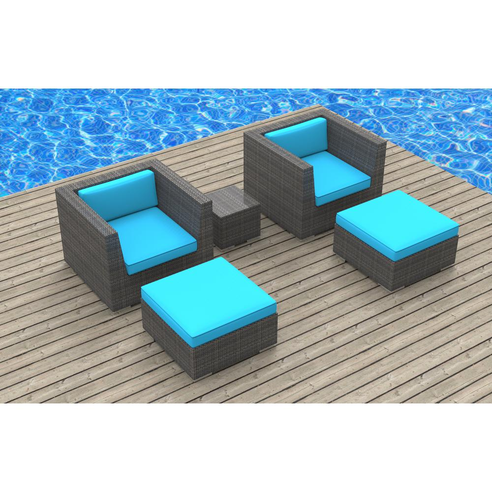 Urban Furnishing Curacao 5-Piece Wicker Outdoor Sectional Seating Set with Sea Blue Cushions