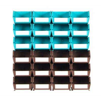 4-1/8 in. W Storage Bin, Teal and Brown (26-Piece)