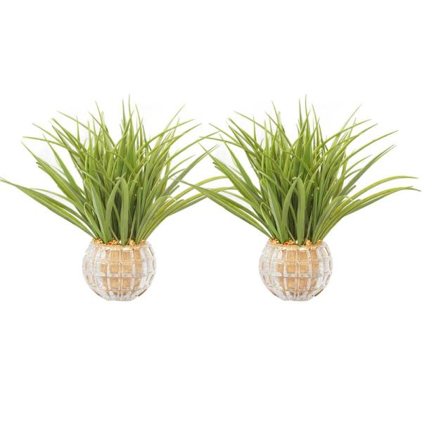13 in. Tall Plastic Grass Artificial Indoor/ Outdoor Faux Dcor in Glass Vases (Set of 2)