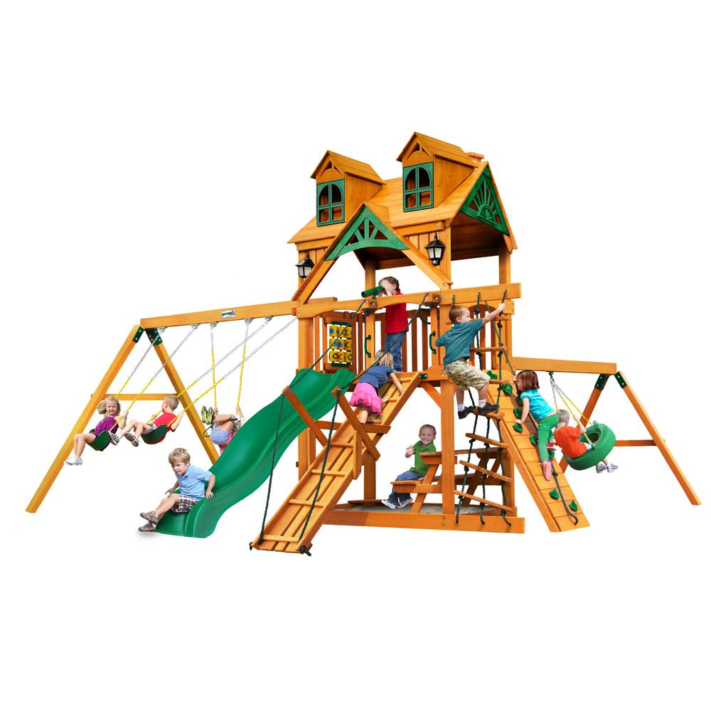Gorilla Playsets Frontier Wooden Playset with Malibu Wood Roof and Tire Swing