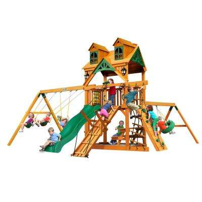 Frontier Wooden Swing Set with Malibu Wood Roof and Tire Swing
