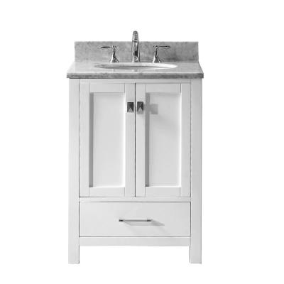 Caroline Avenue 25 in. W Bath Vanity in White with Marble Vanity Top in White with Round Basin