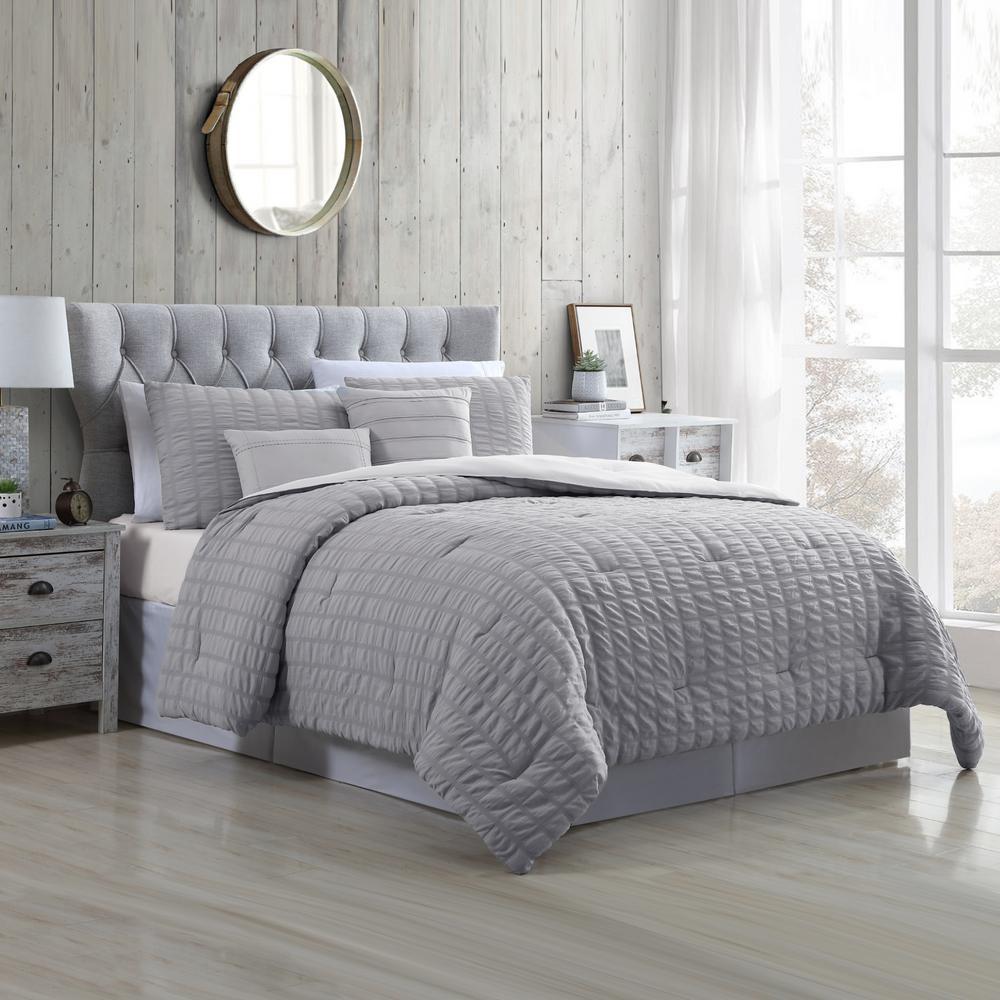 Kane 5-Piece Multi-Colored Grey Queen Kane Grey King Seersucker Cotton Blend Comforter Set