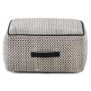 Shea Transitional Square Pouf in Patterned Black, Natural Cotton