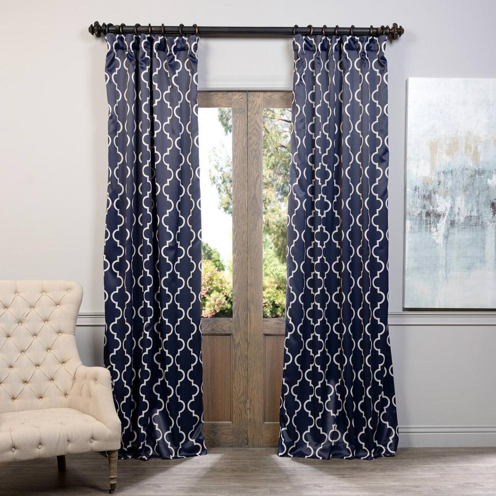 Exclusive Fabrics Furnishings Semi Opaque Seville Navy Blackout Curtain