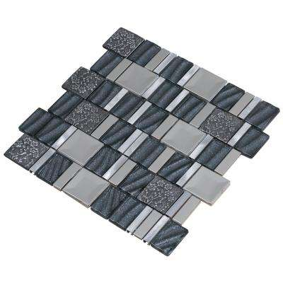 Vitray/04, Gray, 12 in. x 12 in. x 8 mm Glass/Metal/ Hand Painted Ceramic Mesh-Mounted Mosaic Tile (10 sq. ft. / case)