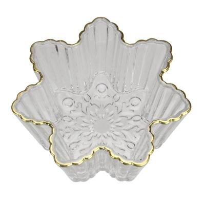 5.75 in. Clear and Gold Winter Snowflake Christmas Candy Dish Serving Bowl
