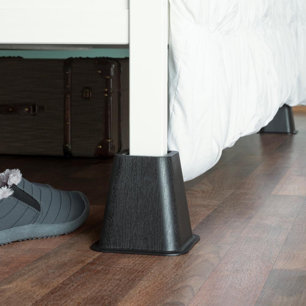 Sunbeam Black Plastic Bed Risers Set Of 4 Br10723 The Home Depot
