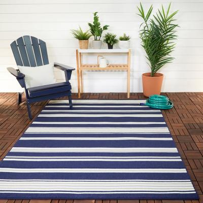 Stripes Navy/White 9 ft. x 12 ft. Indoor/Outdoor Area Rug