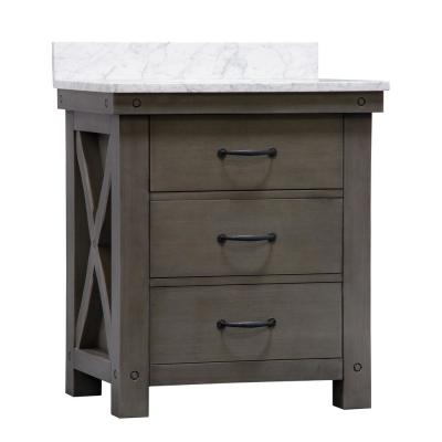 Aberdeen 30 in. W x 34 in. H Vanity in Gray with Marble Vanity Top in Carrara White with White Basin, Mirror and Faucet