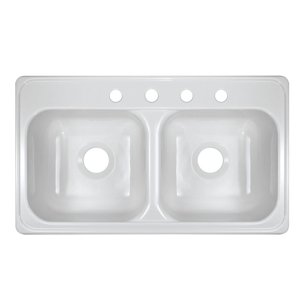 Lyons Industries Style J Drop-In Acrylic 33x19x9 in. 4-Hole 50/50 Double Basin Kitchen Sink in White