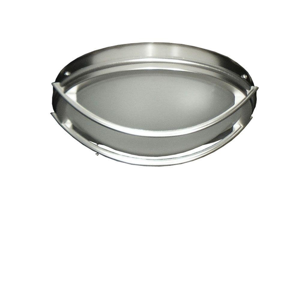 163 Low Profile Satin Steel Indoor/Outdoor Ceiling Fan Light