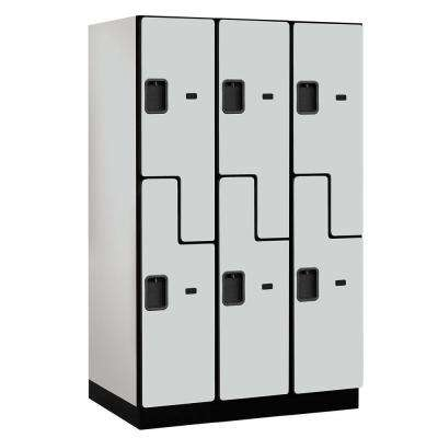"""27000 Series Double-Tier """"S"""" Style 24 in. D 6-Compartments Extra Wide Designer Particle Board Locker in Gray"""