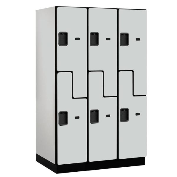 27000 Series Double-Tier ''S'' Style 24 in. D 6-Compartments Extra Wide Designer Particle Board Locker in Gray
