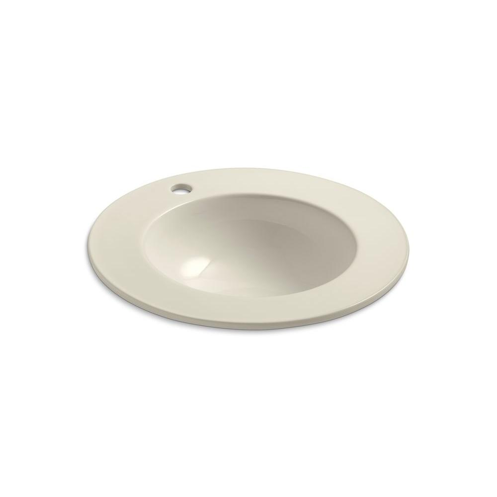 KOHLER Camber Drop-In Vitreous China Bathroom Sink in Almond