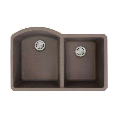 Aversa Undermount Granite 32 in. 1-3/4 D-Shape Double Bowl Kitchen Sink in Espresso