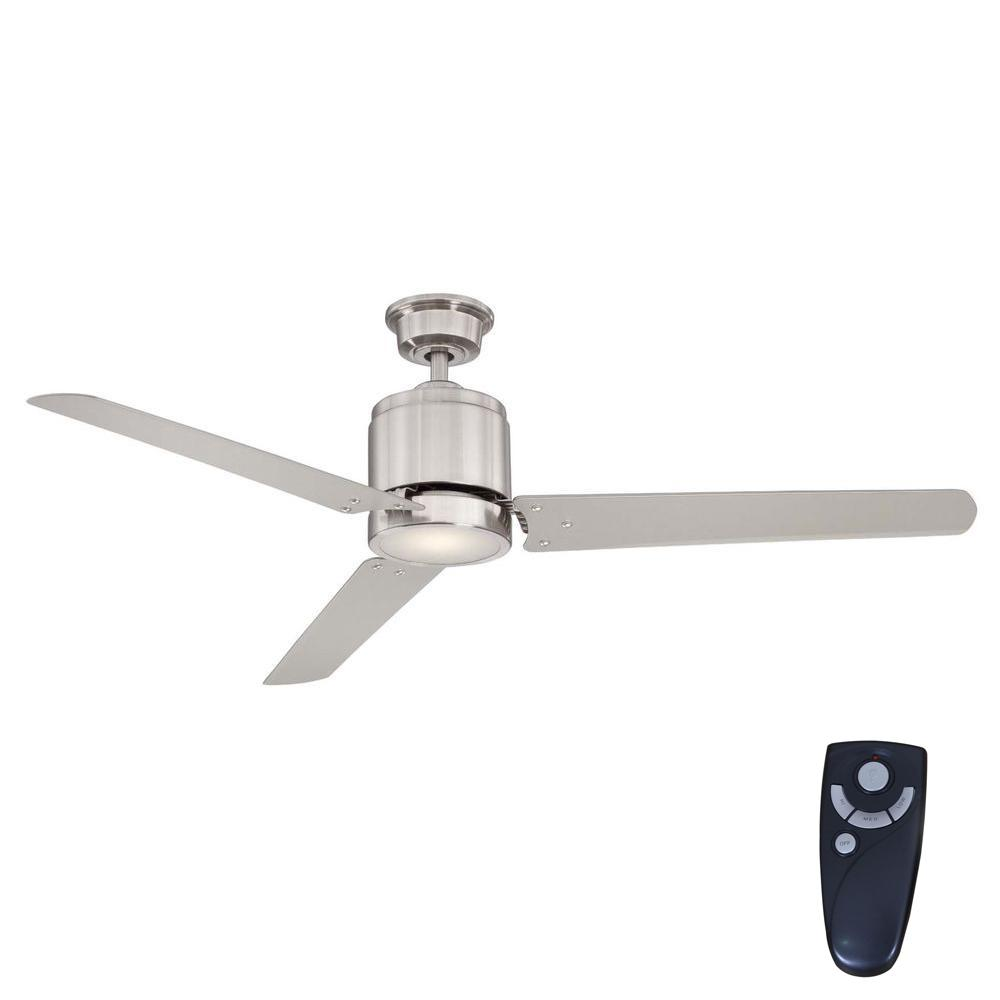 Home Decorators Collection Railey 60 In Led Indoor Brushed Nickel Ceiling Fan With Light Kit