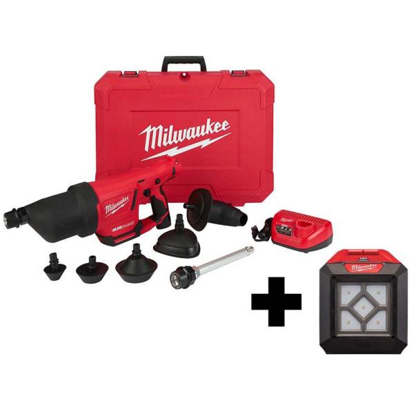 M12 12-Volt Lithium-Ion Cordless Drain Cleaning Airsnake Air Gun Kit with 1000 Lumens M12 Flood Light