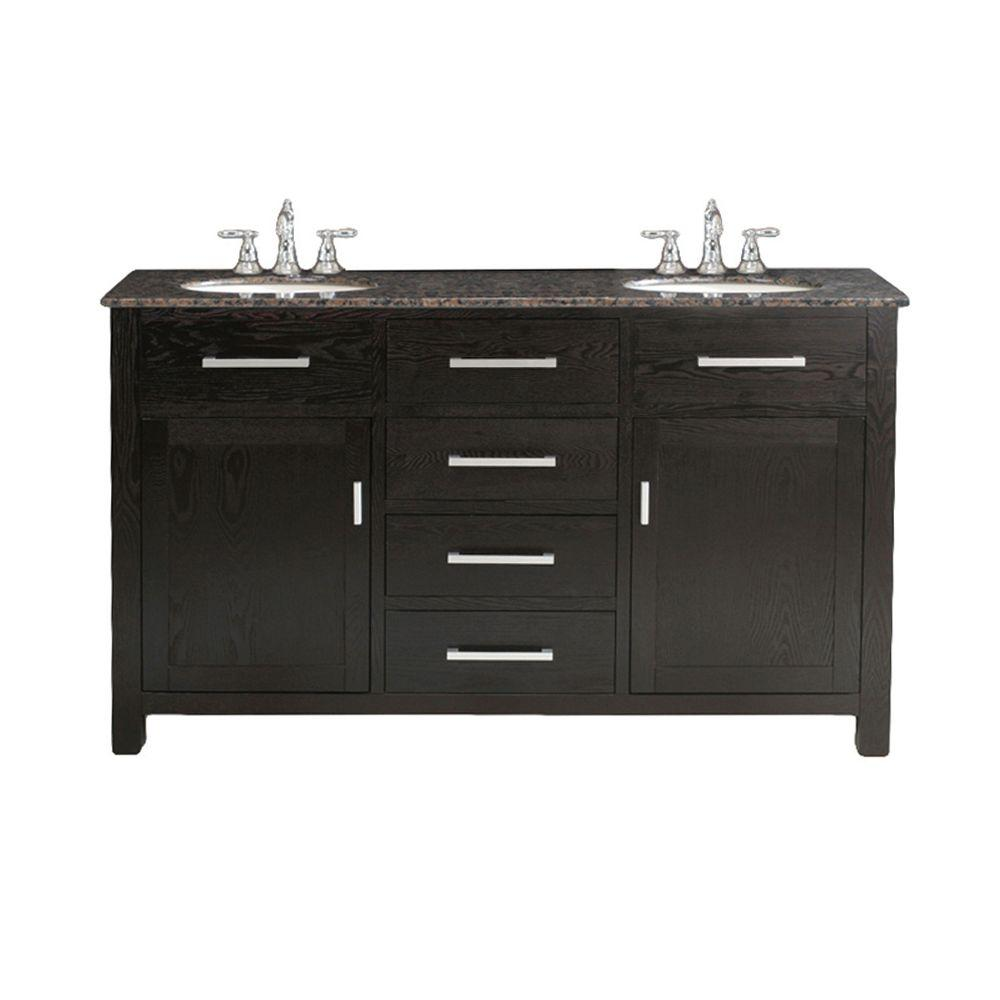 Virtu USA Raffaella 60 in. Double Basin Vanity in Dark Espresso with Granite Stone Vanity Top in Baltic Brown-DISCONTINUED
