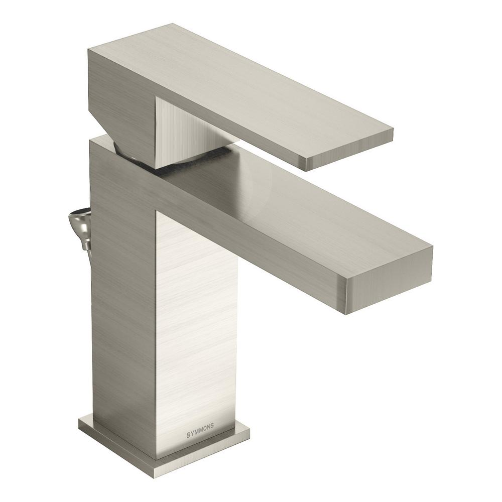 Symmons Duro Single Hole Single-Handle Bathroom Faucet with Drain Assembly in Brushed Nickel