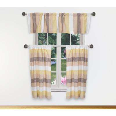 Helga Kitchen Valance in Multicolor - 15 in. W x 58 in. L (3-Piece)