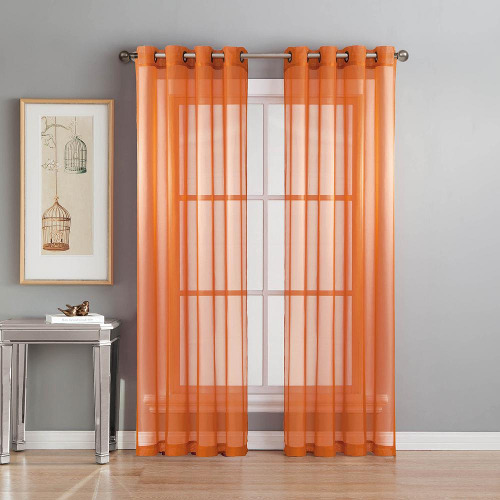 Sheer Diamond Voile Orange Grommet Extra Wide Curtain Panel 56 In W X 90 L