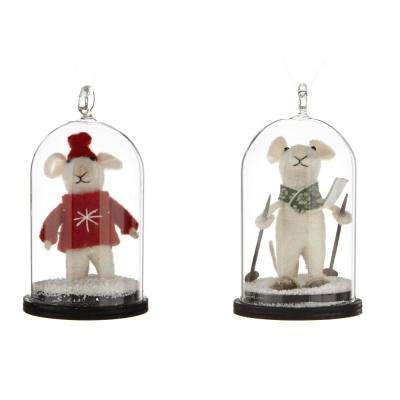 2.75 in. Festive Mouse Cloche Ornaments (Set of 2)