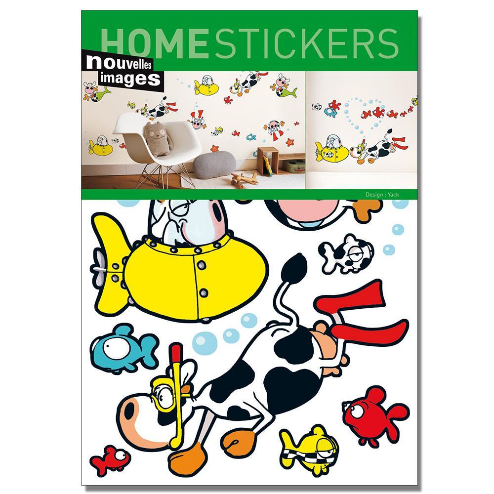 Multicolor Under Water Cows Home Sticker