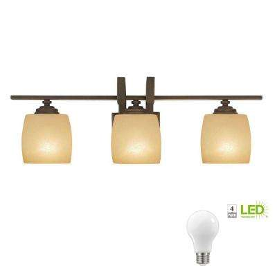 3-Light Bronze Vanity Light with Scavo Glass Shade, Dimmable LED Daylight Bulbs Included