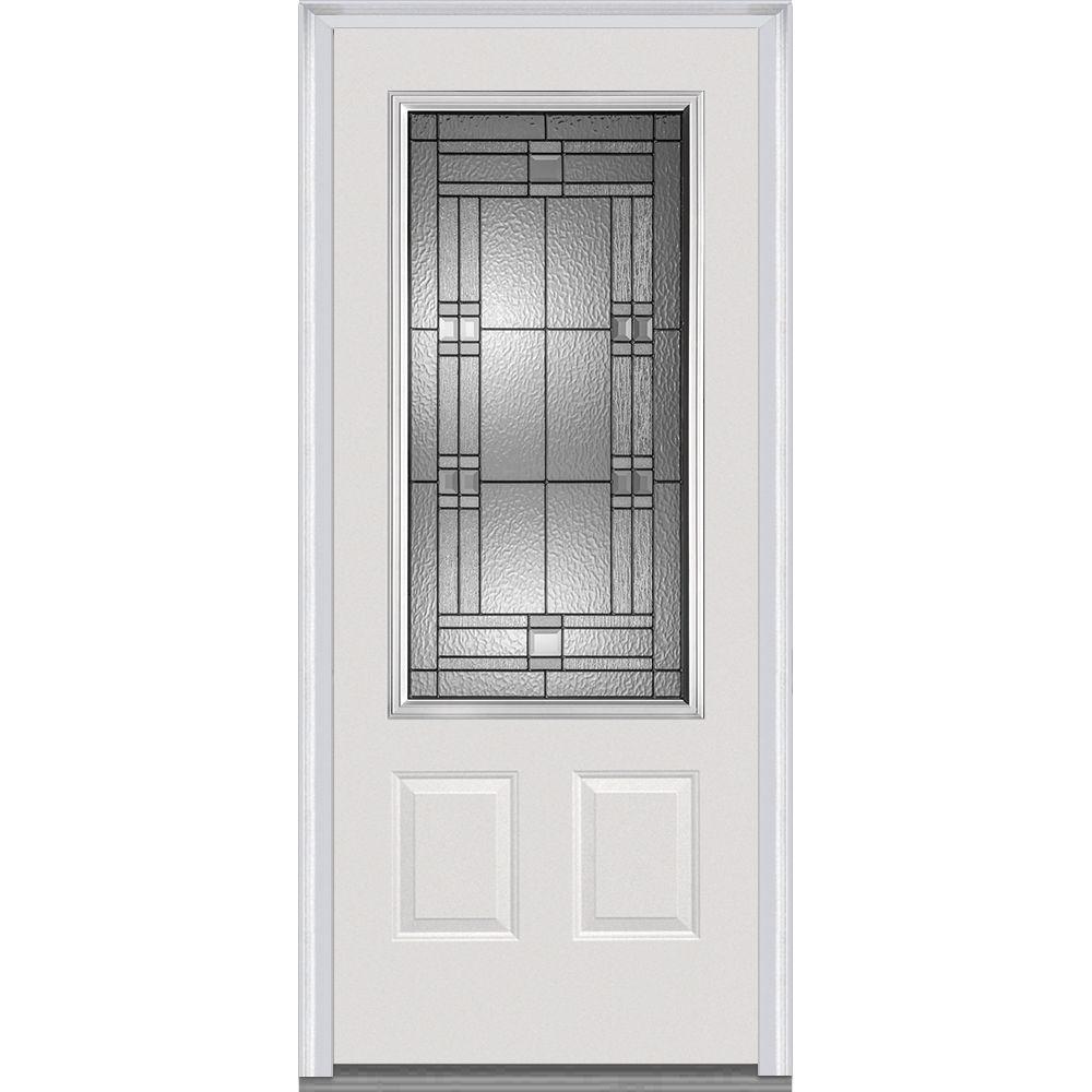 32 in. x 80 in. Roman Left-Hand Inswing 3/4-Lite Decorative 2-Panel Primed Steel Prehung Front Door