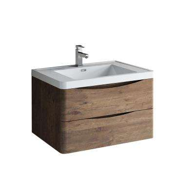 Tuscany 32 in. Modern Wall Hung Vanity in Rosewood with Vanity Top in White with White Basin