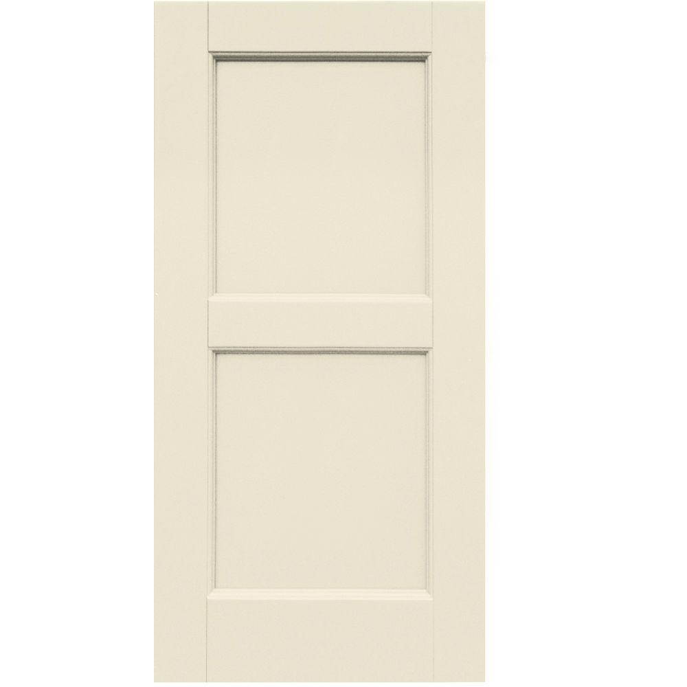 Winworks Wood Composite 15 in. x 32 in. Contemporary Flat Panel Shutters Pair #651 Primed/Paintable