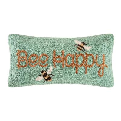 Yellow Bee Happy Hooked 10 in. x 20 in. Standard Throw Pillow