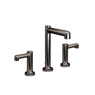 Museo 8 in. Widespread 2-Handle Bathroom Faucet with Drain Assembly in Polished Graphite