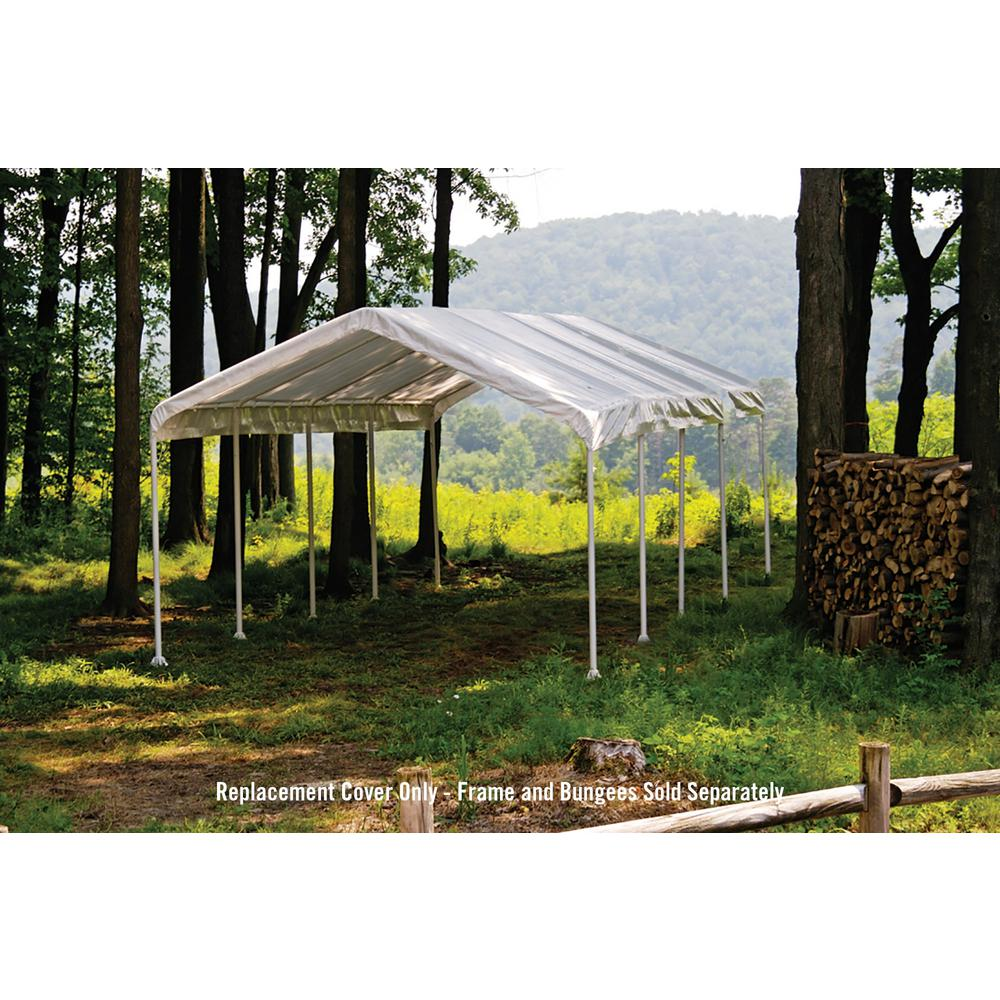 Shelterlogic super max 12 ft x 26 ft white canopy replacement cover fits