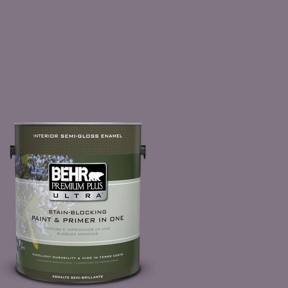 BEHR Premium Plus Ultra 1-gal. #N100-5 Plush Velvet Semi-Gloss Enamel Interior Paint