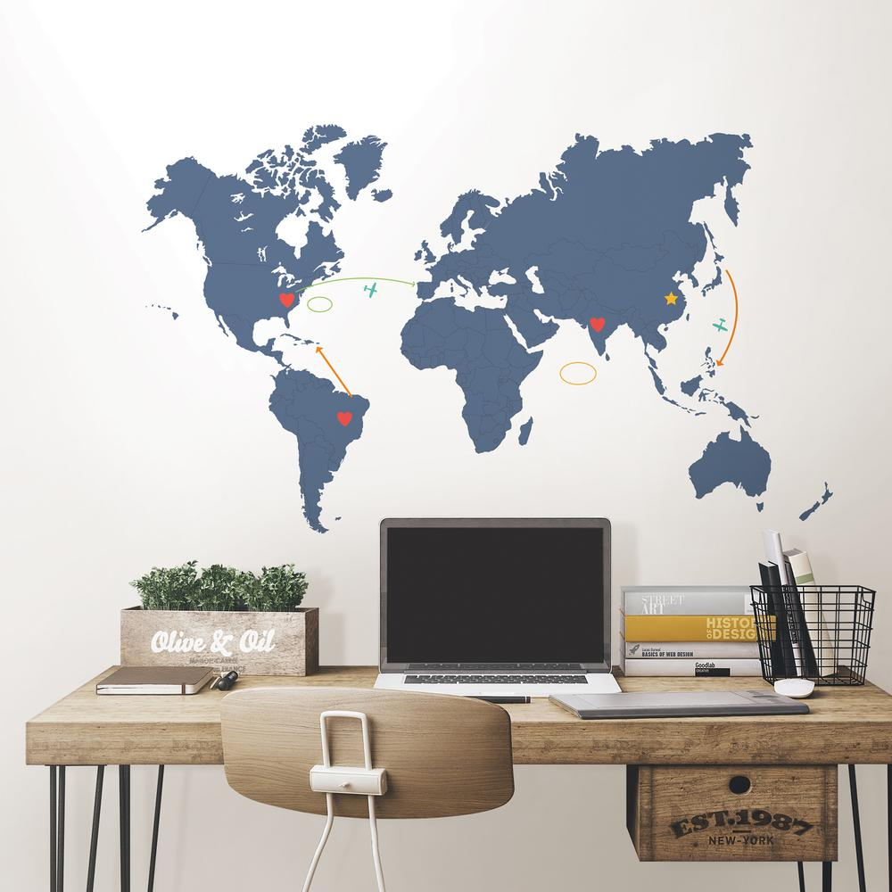 Wall World Map Wall Pops 48 in. x 72 in. Blue Destination World Map Wall Art Kit