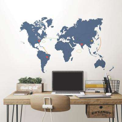 48 in. x 72 in. Blue Destination World Map Wall Art Kit