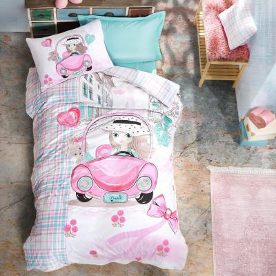 Pink Car Duvet Cover Set, Twin Size Duvet Cover, 1 Duvet Cover, 1 Fitted Sheet and 2 Pillowcases, Iron Safe