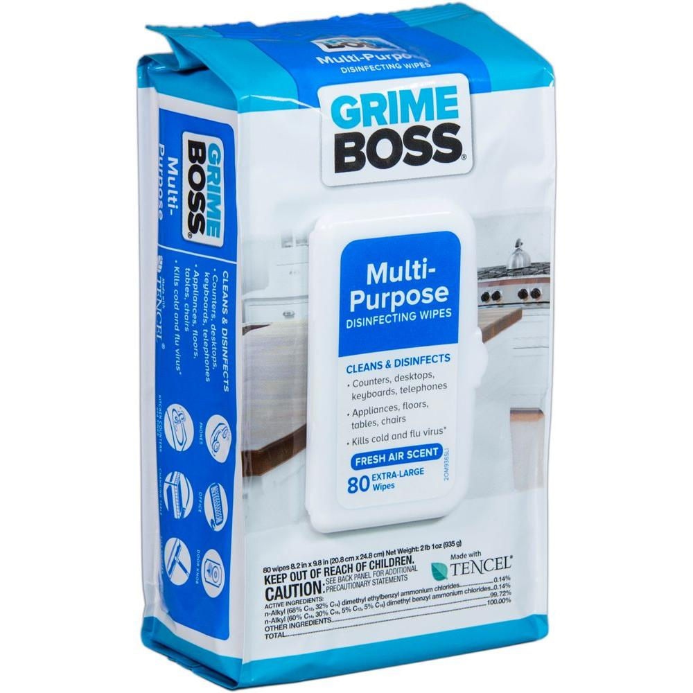 grime boss multi purpose disinfecting wipes 80 count m936s80 the