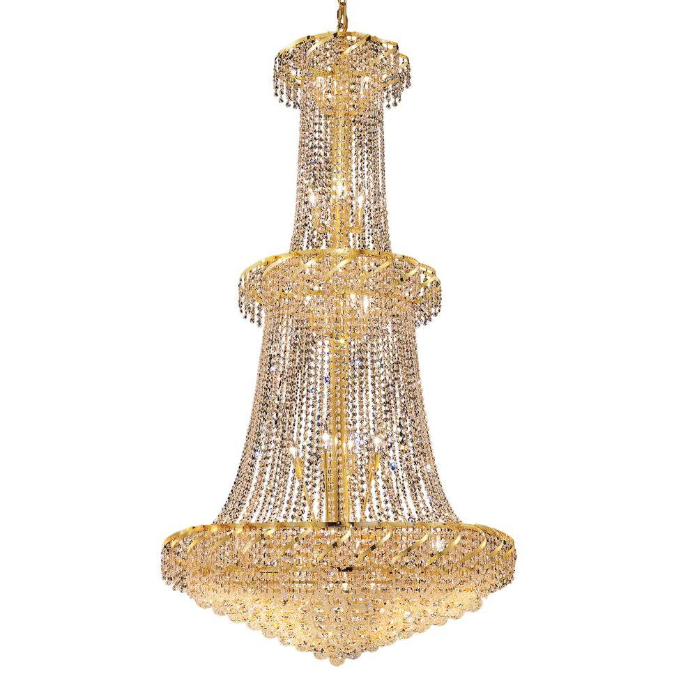 Elegant Lighting 32-Light Gold Chandelier with Clear Crystal