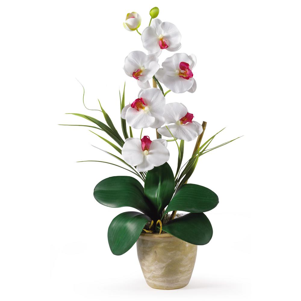 Nearly Natural 21 in. Phalaenopsis Silk Orchid Flower Arrangement in White