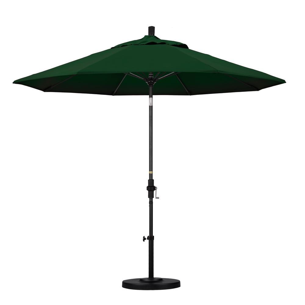 California Umbrella 9 ft. Fiberglass Collar Tilt Patio Umbrella in Hunter Green Pacifica
