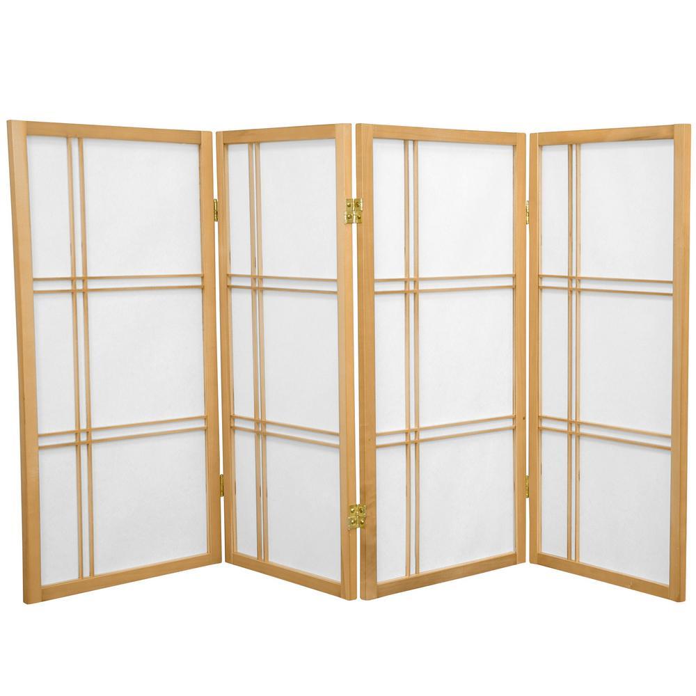 Oriental Unlimited 3 ft. Natural 4-Panel Room Divider