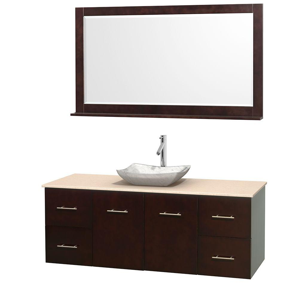 Wyndham Collection Centra 60 in. Vanity in Espresso with Marble Vanity Top in Ivory, Carrara White Marble Sink and 58 in. Mirror