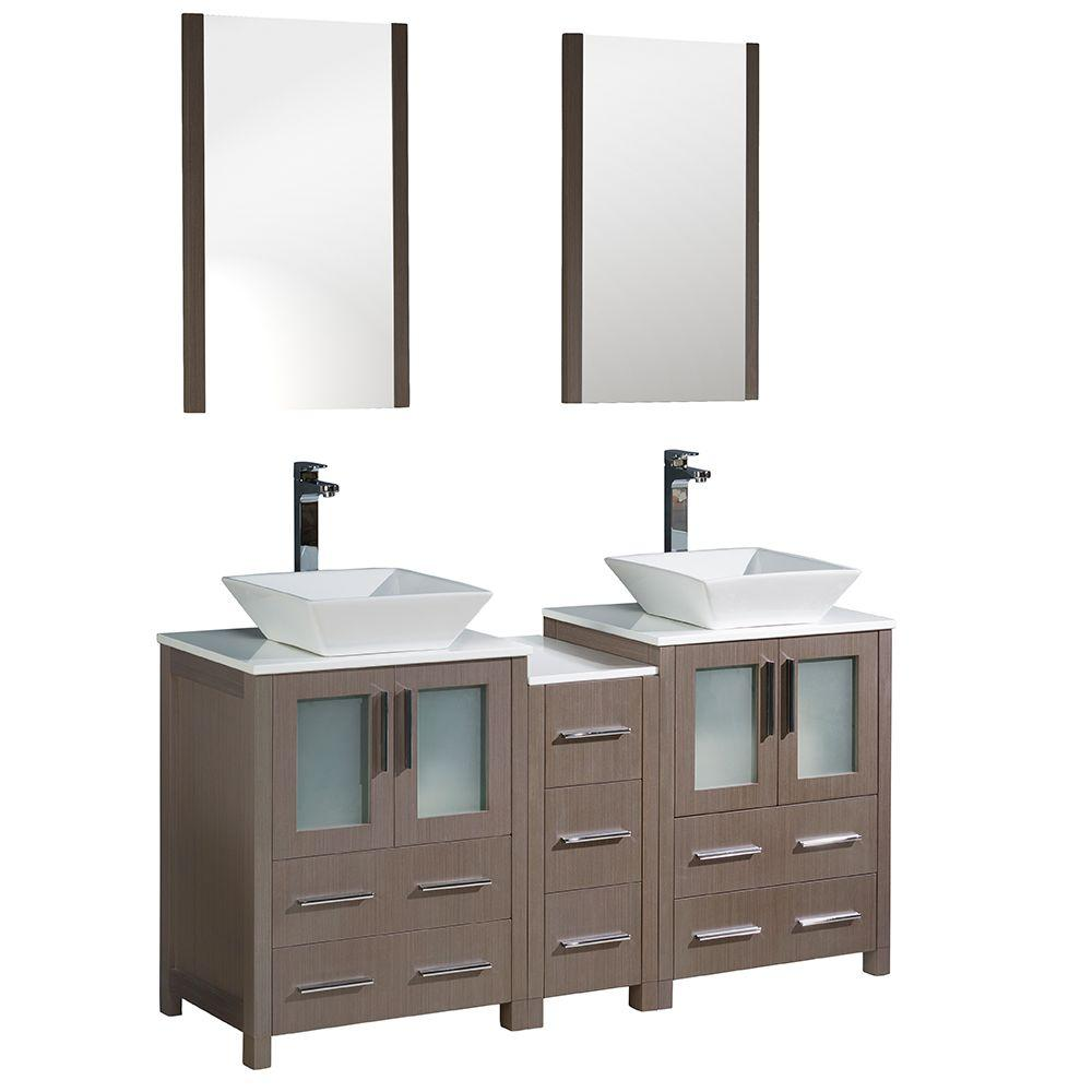Torino 60 in. Double Vanity in Gray Oak with Glass Stone